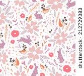flowers and bunnies seamless... | Shutterstock .eps vector #212729383