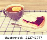 fruit jelly cake and cup of tea ... | Shutterstock . vector #212741797