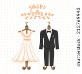 wedding card with dress and suit | Shutterstock .eps vector #212769943