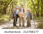 boys travelers with backpacks... | Shutterstock . vector #212788177