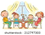 family having meal together | Shutterstock .eps vector #212797303