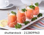 Finger Food. Rolls Of Salmon...