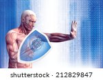 man with a shield  anatomical... | Shutterstock . vector #212829847