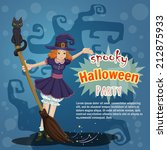 beautiful card happy halloween... | Shutterstock .eps vector #212875933