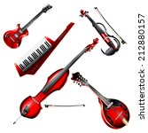 Musical background series. Set of electric instruments, isolated on white background. Vector illustration