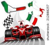 red race car gp monza italy | Shutterstock .eps vector #212888257