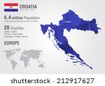 Croatia World Map With A Pixel...