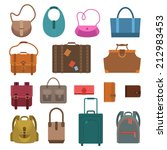 women fashion and luggage bags... | Shutterstock .eps vector #212983453