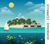 tropical island sea view with... | Shutterstock .eps vector #212984113