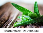Small photo of Green leaves of aloe plant close up on wooden background