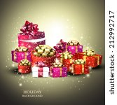 christmas background with gifts.... | Shutterstock .eps vector #212992717