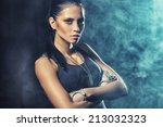 sexy soldier woman on factory... | Shutterstock . vector #213032323