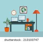 office design over blue... | Shutterstock .eps vector #213103747