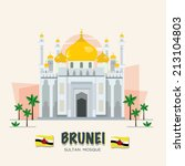 The grand mosque. landmark of brunei. ASEAN set - vector illustration