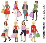 young fashion girls with... | Shutterstock .eps vector #213127327