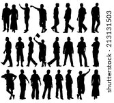 black silhouettes of beautiful... | Shutterstock . vector #213131503