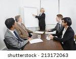 senior woman using whiteboard... | Shutterstock . vector #213172063