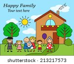 cartoon happy family on the... | Shutterstock .eps vector #213217573