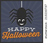 happy halloween hanging spider... | Shutterstock .eps vector #213233737