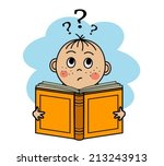cartoon boy reading a book and...   Shutterstock .eps vector #213243913