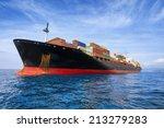 commercial cargo ship full of... | Shutterstock . vector #213279283