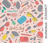 colorful girl stuff   lipstick  ... | Shutterstock .eps vector #213310477