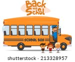 school bus and happy children.... | Shutterstock .eps vector #213328957