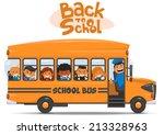school bus and happy children.... | Shutterstock .eps vector #213328963