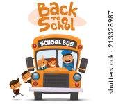 school bus and happy children.... | Shutterstock .eps vector #213328987
