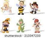 group of cartoon kids wearing... | Shutterstock .eps vector #213347233