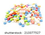 Pile Of Various Colorful Pills...