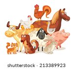 Stock vector farm animals posing together funny cartoon character vector illustration isolated on white 213389923