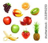 Fruits  Set Of Vector...