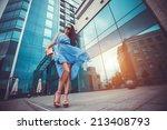 beautiful woman is walking in... | Shutterstock . vector #213408793