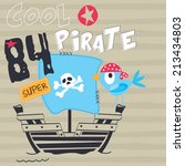 pirate bird on board striped... | Shutterstock .eps vector #213434803