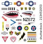 fighter planes emblem set | Shutterstock .eps vector #213452053
