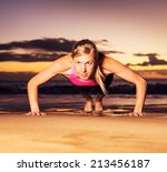 fitness young woman doing push...   Shutterstock . vector #213456187