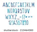Blue Watercolor Aquarelle Font...