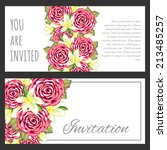 set of invitations with floral... | Shutterstock .eps vector #213485257