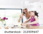little girl helping her mother... | Shutterstock . vector #213509647