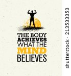 the body achieves what the mind ... | Shutterstock .eps vector #213533353