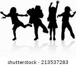 dancing children silhouettes | Shutterstock .eps vector #213537283