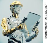 futuristic engineer in yellow... | Shutterstock . vector #213537307