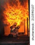 firefighters fighting fire... | Shutterstock . vector #213590107