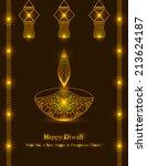decorative diwali lamp design... | Shutterstock .eps vector #213624187