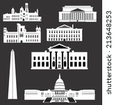 Washington DC., White House, Capitol, National building museum, Smithsonian Castle, National archives building - stock vector