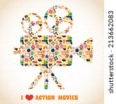 Action movie premiere cinema professional production camera concept vector illustration