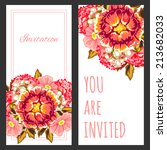 set of invitations with floral... | Shutterstock .eps vector #213682033