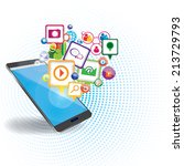 mobile marketing background | Shutterstock .eps vector #213729793