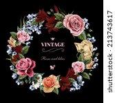 wreath of roses  watercolor ...   Shutterstock . vector #213743617
